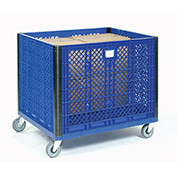 "Vented Wall Bulk Container with Casters, 39-1/4""L x 31-1/2""W x 29""H, Blue"