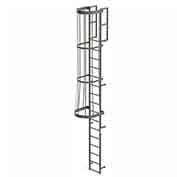 EGA FC16 Steel Fixed Cage Ladder, 16 Step, Gray