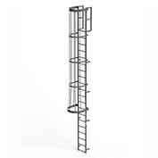 EGA FC20 Steel Fixed Cage Ladder, 20 Step, Gray