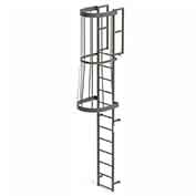 EGA FC12 Steel Fixed Cage Ladder, 12 Step, Gray