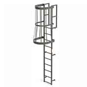 EGA FC10 Steel Fixed Cage Ladder, 10 Step, Gray