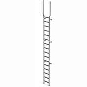 EGA VMS16EX Steel Vertical Wall Mount Ladder W/ Rail Extensions, 16 Step, Gray