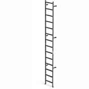 EGA VMS14 Steel Vertical Wall Mount Ladder W/O Rail Extensions, 14 Step, Gray