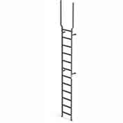 EGA VMS12EX Steel Vertical Wall Mount Ladder W/ Rail Extensions, 12 Step, Gray