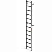EGA VMS12 Steel Vertical Wall Mount Ladder W/O Rail Extensions, 12 Step, Gray