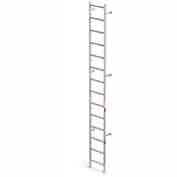 EGA VAL14 Aluminum Vertical Wall Mount Ladder W/O Rail Extensions, 14 Step, Gray