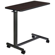Mobile Overbed Table with H-Base, Walnut Laminate Tabletop