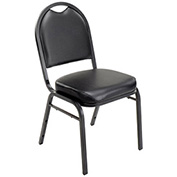 "Stacking Banquet Chair, Vinyl, 2"" Seat, Black - Pkg Qty 4"