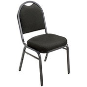 "Stacking Banquet Chair, Fabric, 2"" Seat, Black - Pkg Qty 4"