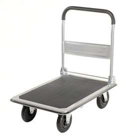 "Folding Platform Truck, Solid Steel Deck, 35 x 23, 600 Lb. Cap., 8"" Pneumatic Wheels"