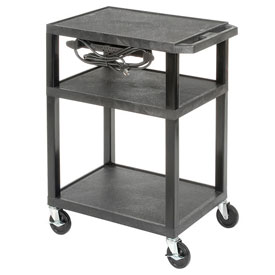 "LUXOR | H. WILSON Tuffy Utility Carts With Electrical Assembly - 24""Wx18""D Shelf - 34""H - Black"