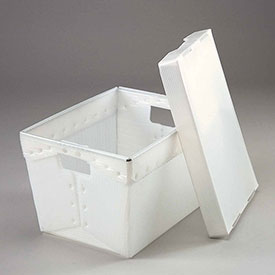 Postal Mail Tote With Lid, Corrugated Plastic, Natural, 18-1/2x13-1/4x12 - Pkg Qty 10