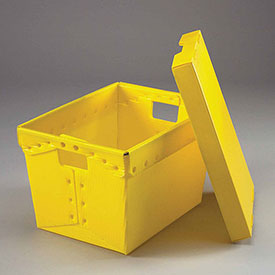 Postal Mail Tote With Lid, Corrugated Plastic, Yellow, 18-1/2x13-1/4x12 - Pkg Qty 10