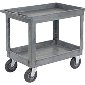 "Plastic 2 Shelf Tray Service & Utility Cart 8"" Pneumatic Caster"