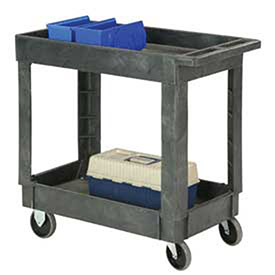 "Plastic 2 Shelf Tray Service & Utility Cart 34 x 17 5"" Rubber Casters"