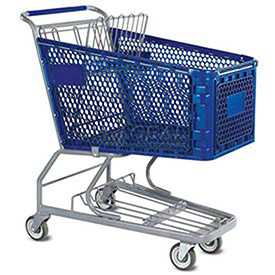 VersaCart® Blue Plastic Shopping Cart 6.3 Cu. Foot Capacity