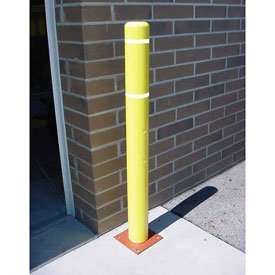 """Bollard Cover, 4""""x 52"""",  Yellow Cover with White Tapes"""