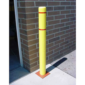 """Bollard Cover, 4""""x 64"""", Yellow Cover with Red Tapes"""