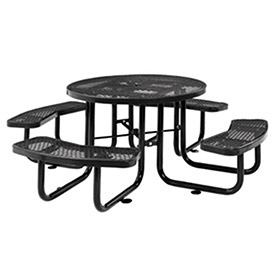 """46"""" Expanded Metal Round Picnic Table, Black"""