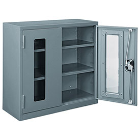 Assembled Clear View Wall Storage Cabinet, 30x12x30, Gray