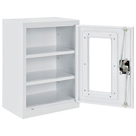 Asembled Clear View Wall Storage Cabinet, 18x12x26, Off White