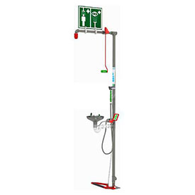 Hughes EXP-18GS/85G-SS Unheated Emergency Safety Shower with Eye/Facewash with Steel Bowl