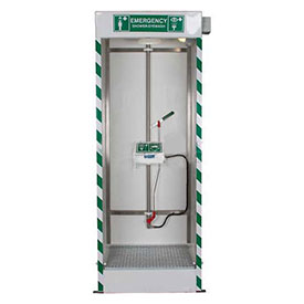 Hughes STD-SD-32K Emergency Cubicle Shower w Single Overhead Spray & Integral Drain- Pkg Qty 1